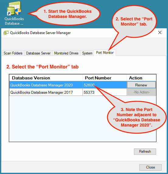 QuickBooks Database Manager Window