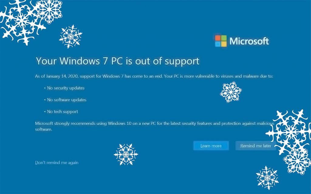Windows 7 PC Out of Support Screen Graphic